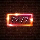 Abra el tiempo 24 7 horas de muestra de la luz de neón en la pared de ladrillo ilustración del vector