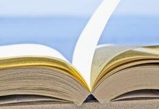 Abra el torneado de páginas del libro con el viento en el fondo azul con el espacio libre imágenes de archivo libres de regalías