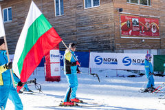 Abra a estação nova 2015-2016 do esqui em Bansko, Bulgária Fotografia de Stock