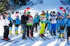 Abra a estação nova 2015-2016 do esqui em Bansko, Bulgária Marc Girardelli, Markus Wasmeier, Petar Popangelov Imagens de Stock Royalty Free