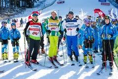 Abra a estação nova 2015-2016 do esqui em Bansko, Bulgária Marc Girardelli, Markus Wasmeier, Petar Popangelov Fotos de Stock Royalty Free