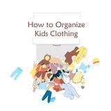 Abra a gaveta do armário e a roupa desarrumado das crianças no assoalho Ilustração do vetor sobre a organização da roupa Fotos de Stock