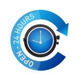 abra 24 horas del reloj de ejemplo de la muestra aislado Fotografía de archivo