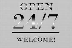 Abra 24 horas por 7 dias Imagem de Stock Royalty Free