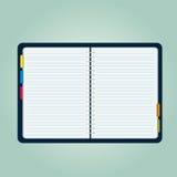 Abra a ilustração de livro vazia da nota ilustração stock