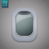 Abra a janela dos aviões Vigia plana no fundo transparente Vetor ilustração do vetor