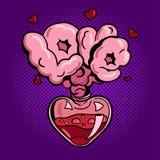 Abra la botella de poción de amor en estilo del arte pop Imagen de archivo libre de regalías