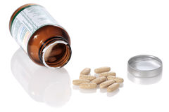 Abra la botella y las vitaminas Fotos de archivo