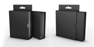 Abra la caja aislada en un fondo blanco Fotografía de archivo