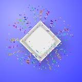Abra la caja con los fuegos artificiales del vector del confeti Foto de archivo