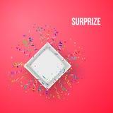 Abra la caja con los fuegos artificiales del vector del confeti Imagen de archivo libre de regalías
