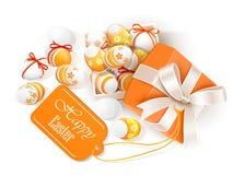 Abra la caja con los huevos de Pascua stock de ilustración