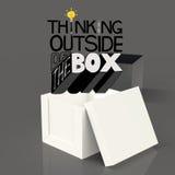 Abra la caja 3d y diseñe la palabra QUE PIENSA FUERA DE LA CAJA Foto de archivo libre de regalías