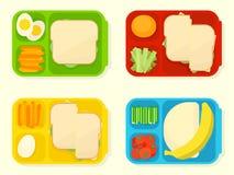 Abra la caja de almuerzo escolar plástica stock de ilustración