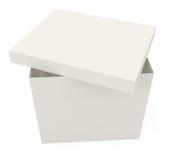 Abra la caja de cartón aislada en blanco Imagen de archivo libre de regalías