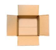 Abra la caja de cartón aislada en un fondo blanco Foto de archivo libre de regalías