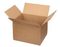 Abra la caja de cartón Imagenes de archivo