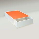 Abra la caja de cerillas con la etiqueta en blanco Foto de archivo