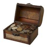 Abra la caja de madera con ahorros Fotos de archivo