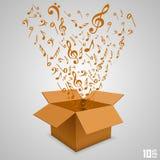 Abra la caja de papel con las notas Imágenes de archivo libres de regalías