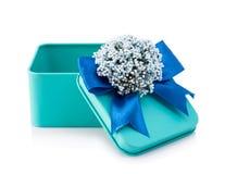 Abra la caja de regalo azul clara Imagen de archivo