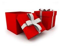 Abra la caja de regalo sobre el ejemplo blanco del fondo 3d foto de archivo