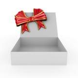 Abra la caja en el fondo blanco Fotografía de archivo libre de regalías