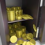 Abra la caja fuerte con las demostraciones de las monedas que depositan seguridad Imagen de archivo libre de regalías