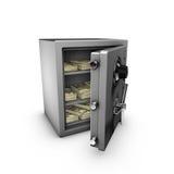 Abra la caja fuerte con las notas del dólar adentro