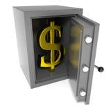 Abra la caja fuerte de la batería con la muestra de dólar del oro adentro. Fotografía de archivo libre de regalías