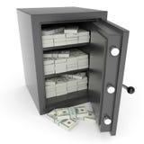 Abra la caja fuerte de la batería con los dólares adentro. Foto de archivo libre de regalías