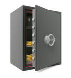 Abra la caja fuerte de la batería con oro Imagen de archivo