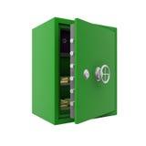 Abra la caja fuerte de la batería con oro Foto de archivo