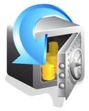 Abra la caja fuerte del banco con la moneda de oro Stock de ilustración