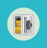 Abra la caja fuerte del metal con diseño plano de las monedas de oro libre illustration