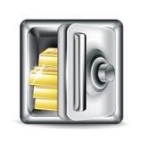Abra la caja fuerte del metal con las barras de oro Imágenes de archivo libres de regalías