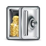 Abra la caja fuerte del metal con las monedas de oro stock de ilustración