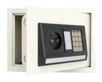 Abra la caja fuerte electrónica aislada en blanco imagenes de archivo
