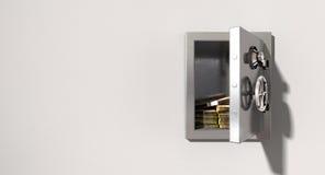 Abra la caja fuerte en la pared con los randes sudafricanos stock de ilustración