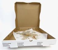 Abra la caja vacía de la pizza con el papel de cera grasiento Fotos de archivo libres de regalías