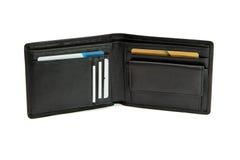 Abra la carpeta negra con las tarjetas de visita aisladas Imagen de archivo libre de regalías