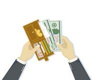 Abra la cartera con las tarjetas del dinero y de crédito del efectivo Hombre de negocios que pone dólares del efectivo Concepto d Imagen de archivo