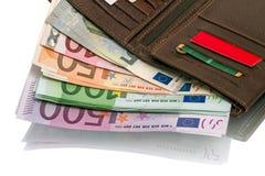 Abra la cartera con los billetes de banco euro Imagen de archivo libre de regalías