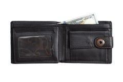 Abra la cartera de cuero negra con los dólares del efectivo Foto de archivo libre de regalías