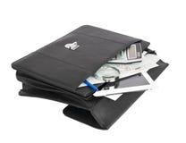 Abra la cartera y los objetos comerciales negros imagenes de archivo