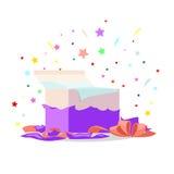 Abra la colección roja del día de fiesta del ejemplo de la caja de regalo libre illustration