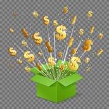 Abra la explosión del haz luminoso de la caja de la sorpresa y las muestras de dólar que vuelan stock de ilustración