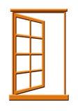 Abra la ilustración de madera de la ventana Fotografía de archivo libre de regalías