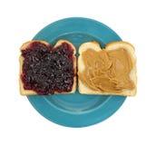 Abra la jalea de la mantequilla de cacahuete de la cara imagenes de archivo