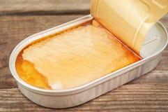 Abra la lata con los salmones imagen de archivo libre de regalías